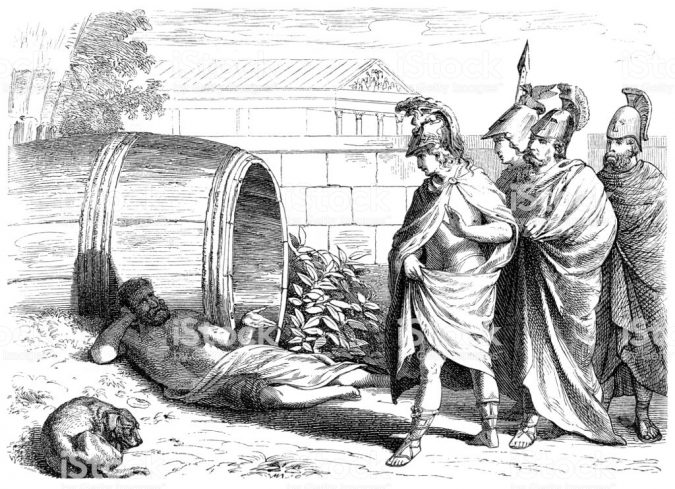 Diogenes Of Sinope in wine barrel with dog and Alexander the Great Original edition from my own archives Source : Illustrierte Geschichte 1880