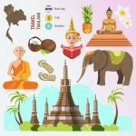 Set of Thailand travel symbols and Bangkok landmarks. Thai culture flat vector illustrations. Collection tourism icons: elephant and monk, Golden Buddha and temple, flower and pineapple, flag and map.